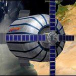Nave inflable flota en el espacio
