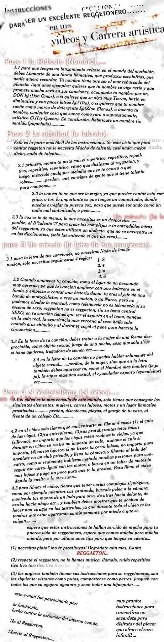 Instrucciones cantar Reggaeton