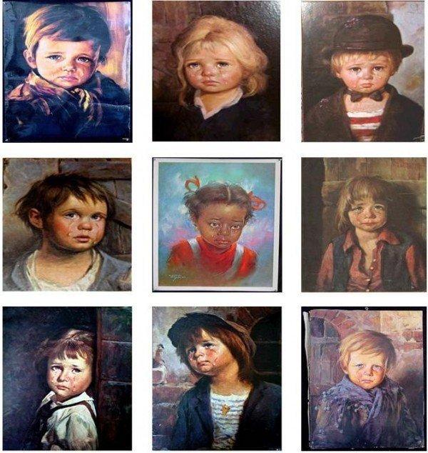 cuadros de niños que lloran