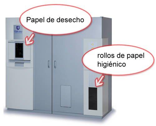 Maquina convierte hojas de oficina en papel higi nico for Papel para oficina