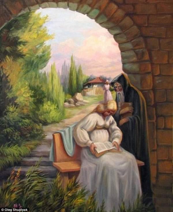 Rostros en las pinturas, cuadros dobles de Oleg Shuplyak
