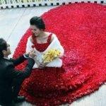 Vestido hecho de 9999 rosas
