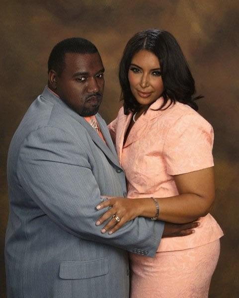 Kanye West y Kim Kardashain gordos