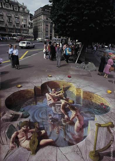 Kurt Wenner 3D arte pinturas pavimento (2)