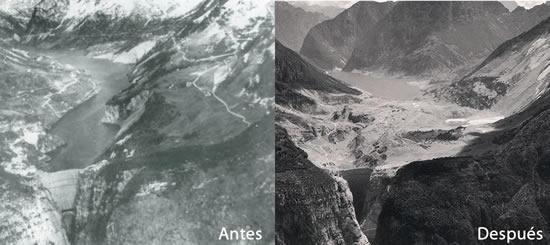Antes y Después Presa Vajont