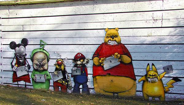 Impresionantes murales urbanos marcianos for Papeles murales en santiago de chile