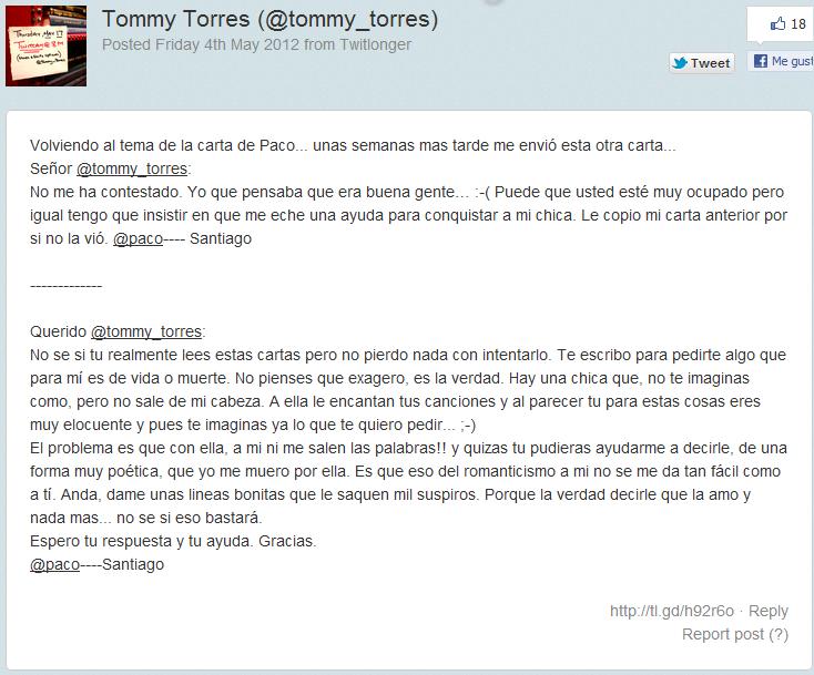 Carta Querido Tommy