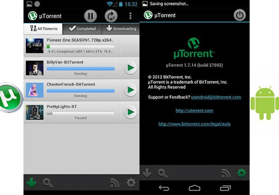 Screenshots µTorrent Android