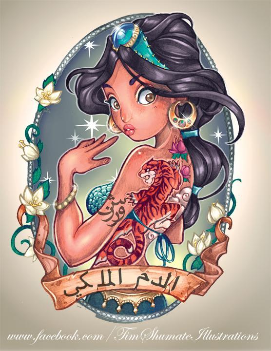 Princesas Disney con tatuajes por telegrafixs (7)