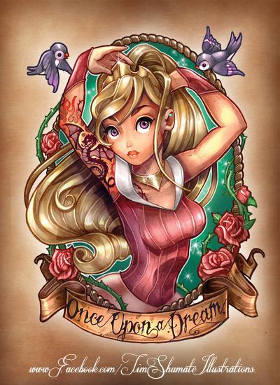 Princesas Disney con tatuajes por telegrafixs (2)