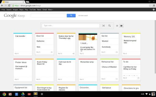Google Keep interfaz web