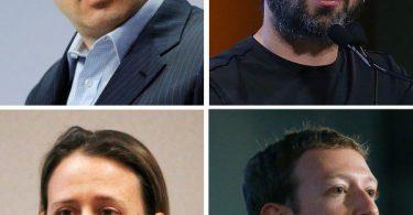 Yuri Milner, Sergey Brin, Anne Wojcicki Mark Zuckerberg