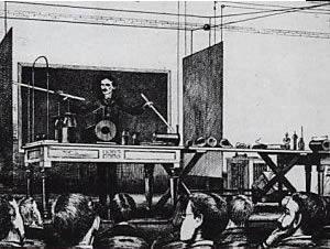 Ilustración de Tesla demostrando la electricidad inalámbrica