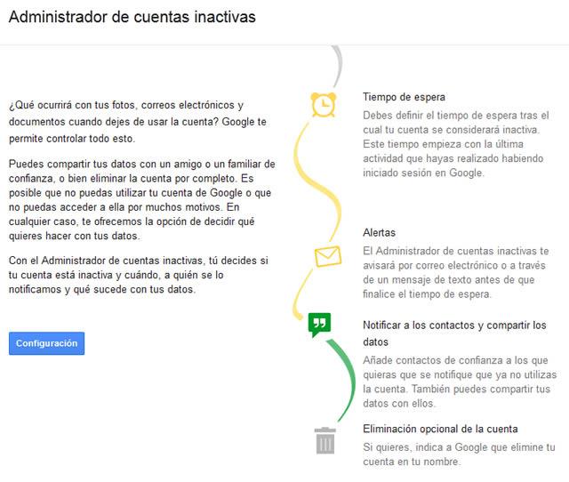 cuentas inactivas google