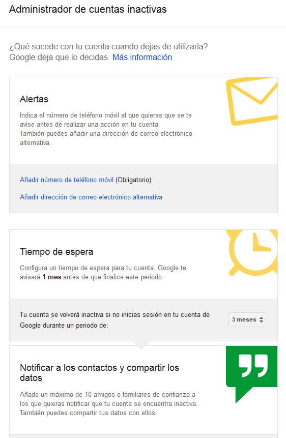 cuentas google inactivas