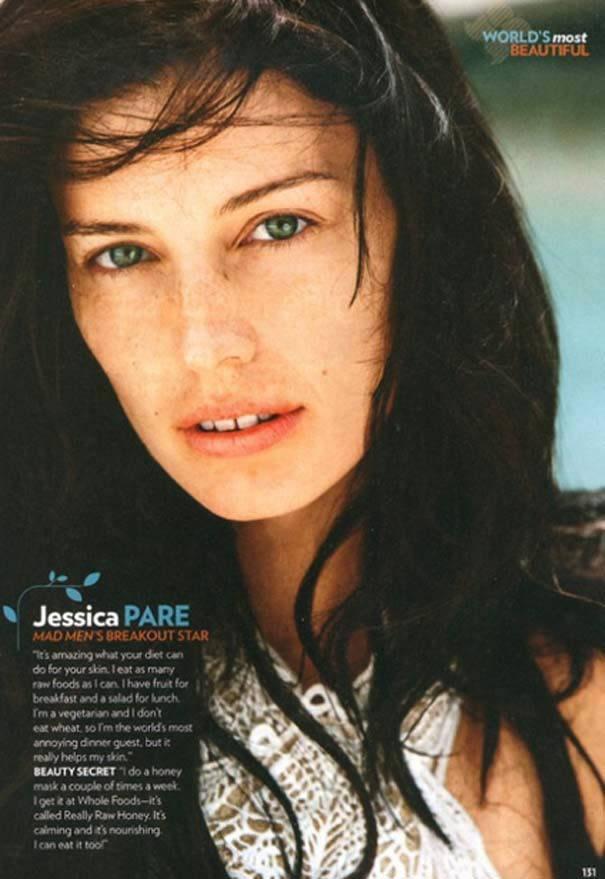 Jessica Pare sin maquillaje