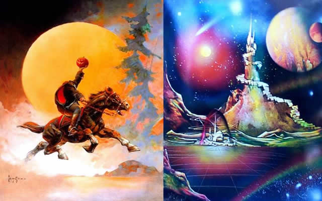 spray art Sadot vs Frazetta