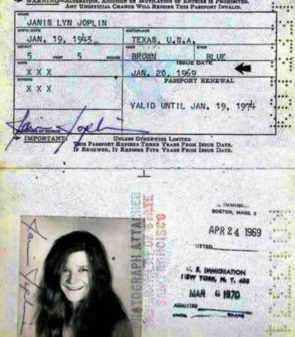 Pasaporte de  Janis Joplin (2)