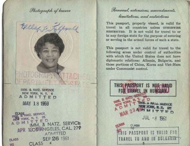 Pasaporte de Ella Fitzgerald