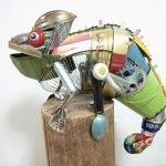 Esculturas de animales hechas de material reciclado
