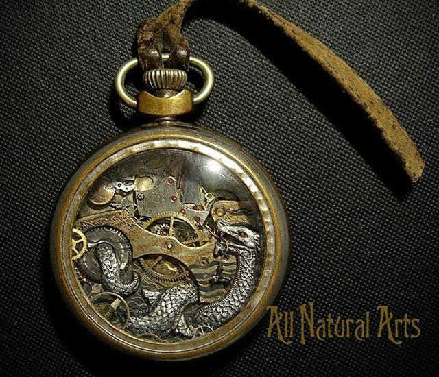 esculturas naturales hechas en relojes antiguos (2)