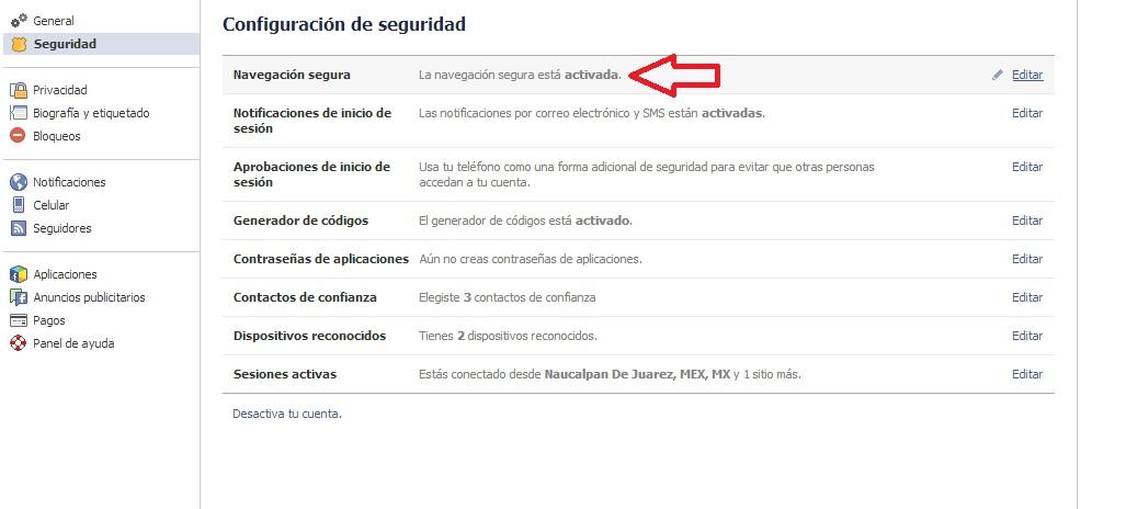 navegacion segura facebook