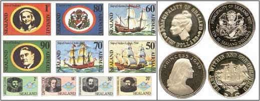 monedas y sellos sealand