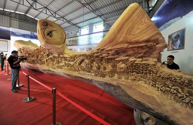 Zheng Chunhui obra maestra madera Festival Qingming (1)