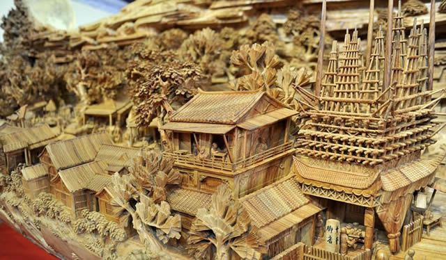 Zheng Chunhui obra maestra madera Festival Qingming (7)