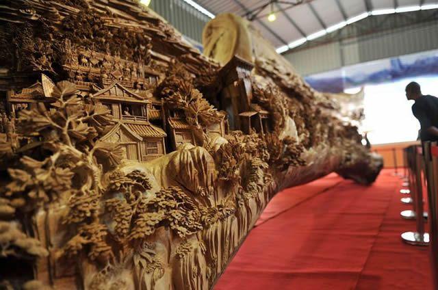 Zheng Chunhui obra maestra madera Festival Qingming (6)