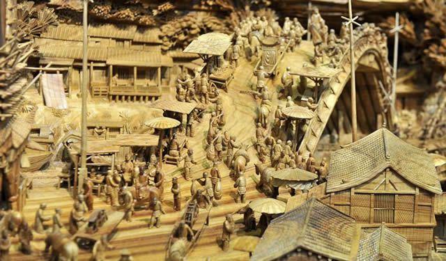 Zheng Chunhui obra maestra madera Festival Qingming (5)