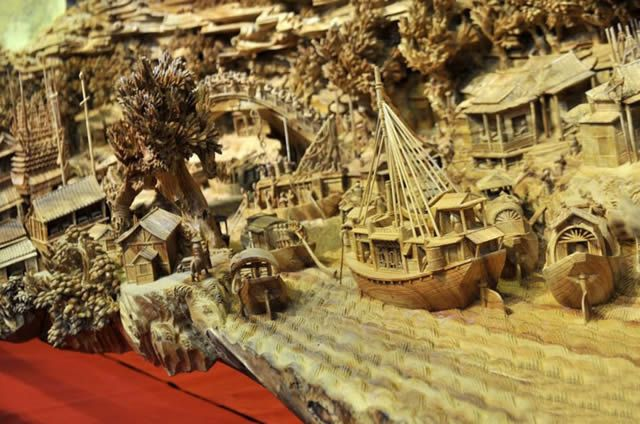 Zheng Chunhui obra maestra madera Festival Qingming (4)