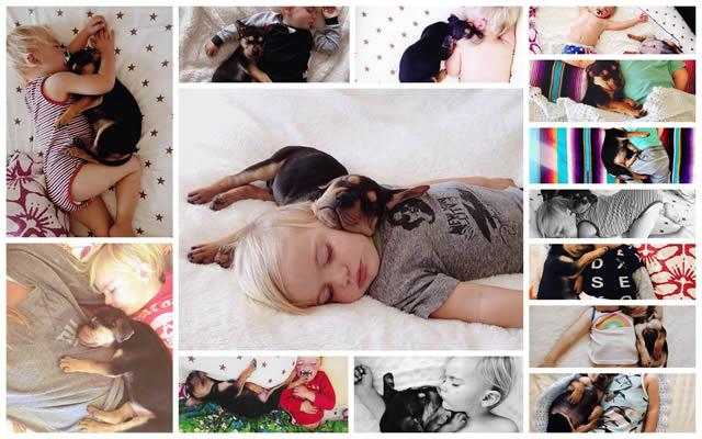 Madre registra momentos adorables de la siesta de su hijo y su perro