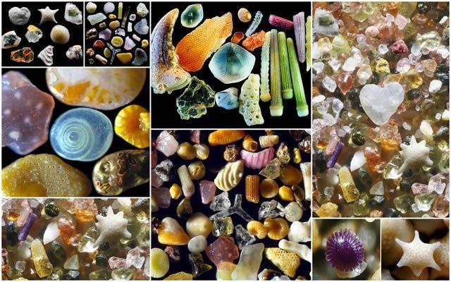 Granos de arena bajo el microscopio por Gary Greenberg