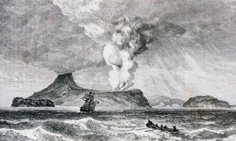 explosion del Krakatoa ilustracion