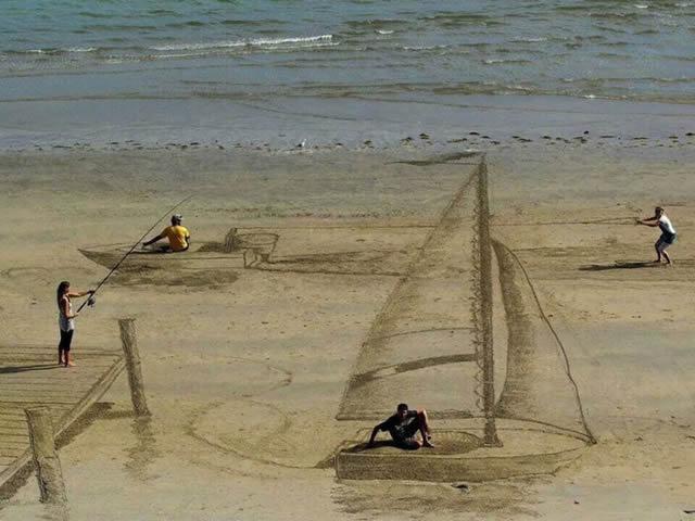 Dibujos en 3D sobre arena (7)