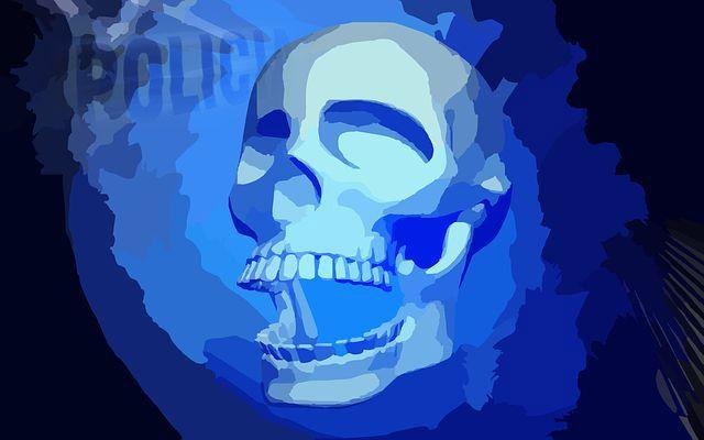 policia calavera azul muerte