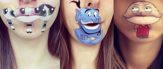 personajes infantiles con maquillaje sobre la boca
