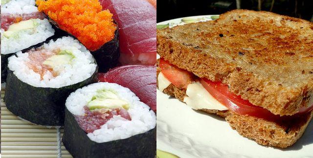 sushi y sándwich