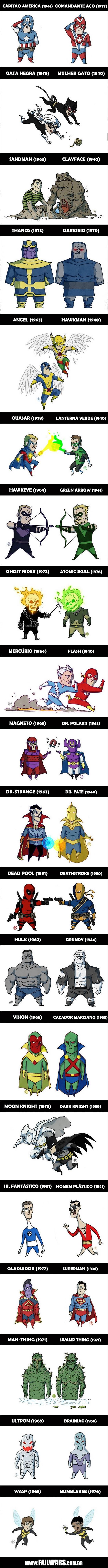 inforgrafia personajes comics identicos marvel dc comics