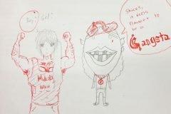 Profesor buena onda termina los garabatos que sus alumnos dibujan en los exámene...