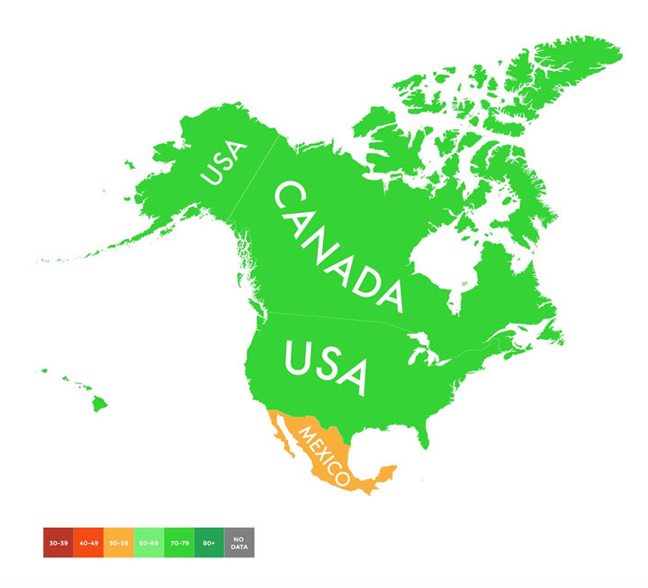 mapa cambio climatico norteamerica