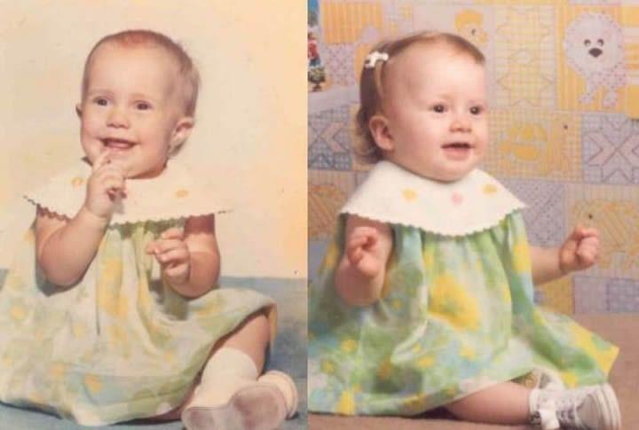 Madre e hija cuando tenían 1 años de edad