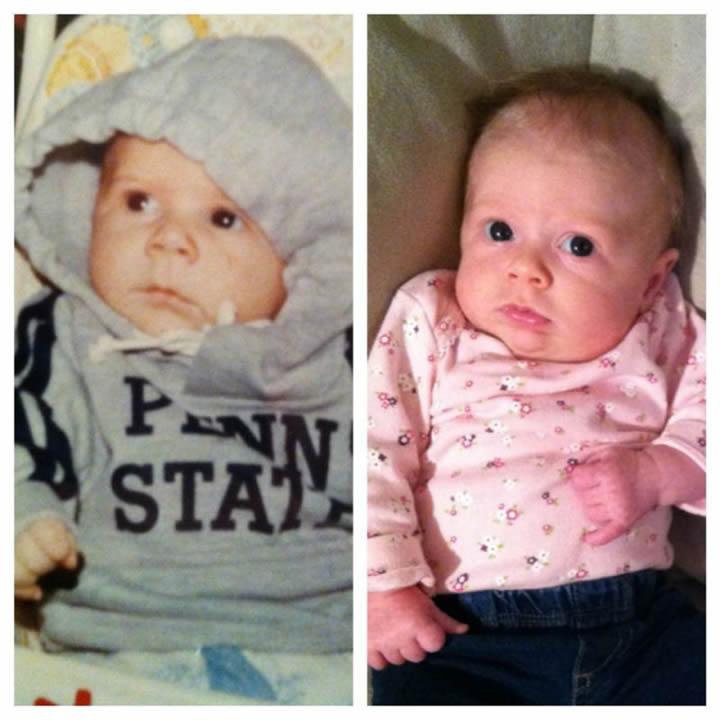 Padre e hija a los dos meses de edad