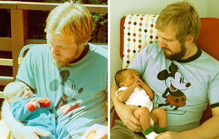 Padre e hijo con sus primogénitos.