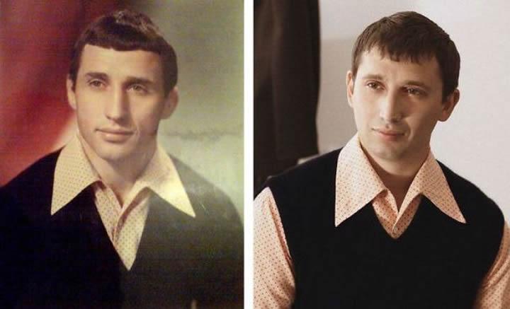 Padre e hijo con la misma edad y el mismo carisma.