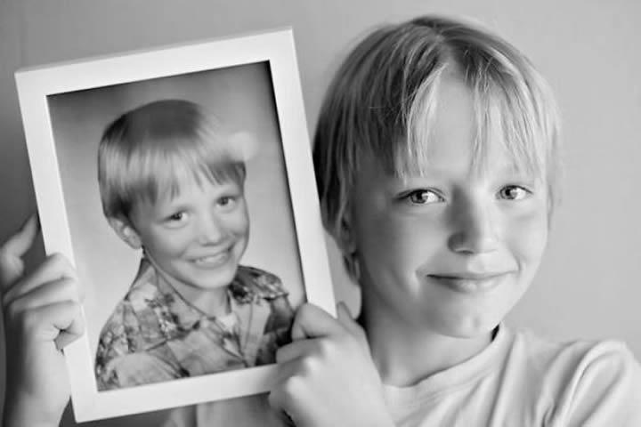 Padre e hijo a los 10 años.