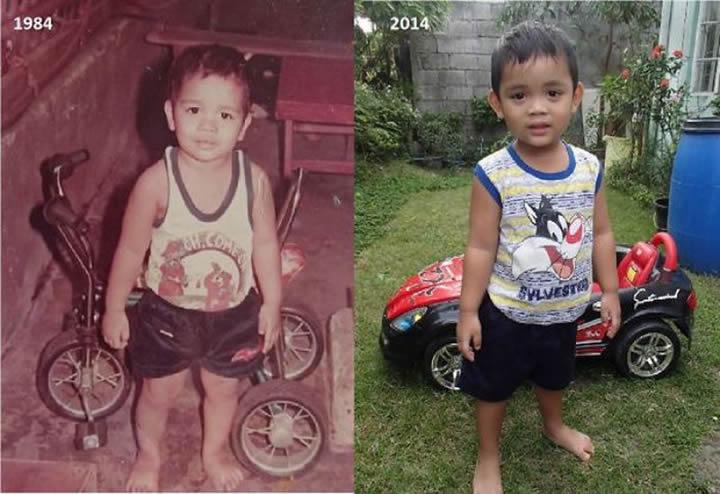 Padre y 30 años después, su hijo.