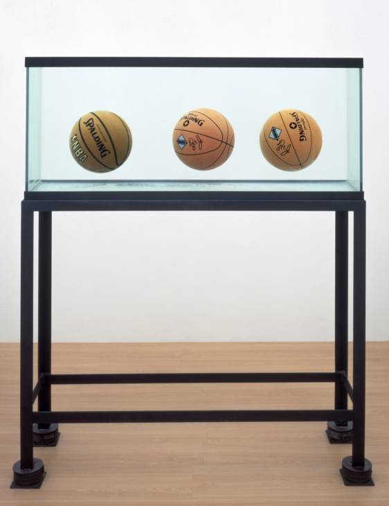Three Ball Total Equilibrium Tank (Two Dr J Silver Series, Spalding NBA Tip-Off) 1985 by Jeff Koons born 1955