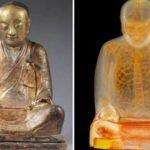 Escáner revela una momia de mil años en el interior de una estatua budista